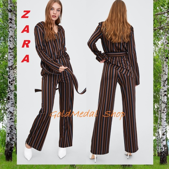 e3c000a49369d5 Zara Pants | Striped Wide Leg Midrise New Flowing | Poshmark